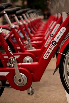 Explore the Mile High City via a Denver B-cycle, the city's shared bicycle system. Colorado Springs, State Of Colorado, Colorado Homes, Denver Colorado, Denver Travel, Visit Denver, I See Red, Red Aesthetic, Shades Of Red