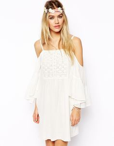 ASOS Swing Dress With Cold Shoulder And Crochet Front
