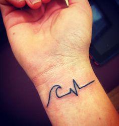 Wave Heartbeat Tattoo On Inner Wrist