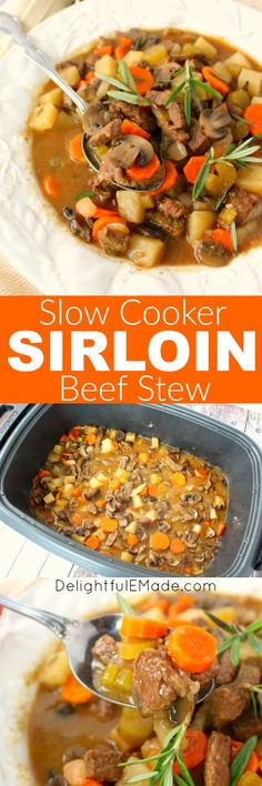 Can you think of anything more comforting that a warm bowl of beef stew? This easy slow cooker recipe is a delicious dinner option for any night of the week. This recipe uses tender, delicious sirloin, along with big chunks of carrots, celery, potatoes and mushrooms. The ultimate comfort food for a cold day!