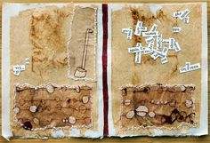 Page from The Book of Words Blowing In The Breeze by Missouri Bend Studio, Patti Roberts-Pizzuto - Drawing on teabags dipped in beeswax, hand sewn to other teabags adhered to Japanese paper, along with collaged word bits