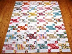 runnstitch.blogspot.ca A cute scrappy quilt that has a tutorial to help you along. Great for leftover fabrics....