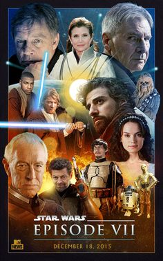 Star Wars VII cast all on a lovely fan-made poster! Art by Old Red Jalopy