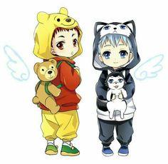 Kuroko no Basket- Chibi Kuroko Tetsuya and Kagami Taiga. Anime Chibi, Kuroko Chibi, Kawaii Anime, Kagami Kuroko, Kagami Taiga, Kawaii Chibi, Fanarts Anime, Cute Chibi, Anime Manga