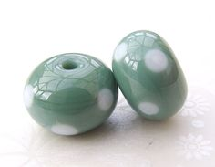 Lampwork Beads Blue Grass Polka Dot Pair UK by shineon2 on Etsy, £4.00