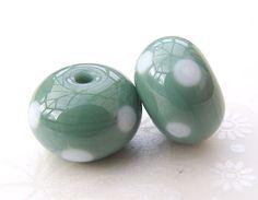 Lampwork Beads Blue Grass Polka Dot Pair UK by shineon2 on Etsy, £4.00