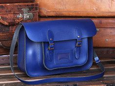 View our Women Classic Cobalt Blue Leather Satchel 15 Inch from the Women Coloured Satchels collection