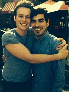 "I ship it Jonathan Groff (Patrick Murray) & Raul Castillo (Richie Donado) on the set of ""Looking"""