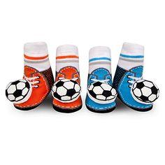 a2f6dd6c1c4d Waddle and Friends Baby Boy Soccer Rattle Shoe Socks Blue... https