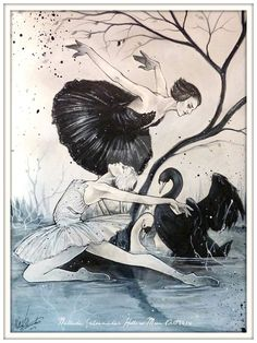 Swan lake - Death of the White swan by Hollow-Moon-Art on DeviantArt Ballet Painting, Lake Painting, Dance Paintings, Black Swan Tattoo, Swan Drawing, Ballet Illustration, Ballet Poses, Mother Art, Lake Art