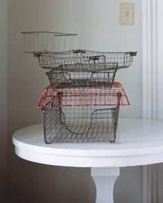 In the age of email, the old-fashioned inbox is less in demand. But wire desk baskets dating from the 1940s and 1950s have a vintage industrial look worth reviving. Cleaned up or with a few pieces of hardware added, they can be employed as office and kitchen organizers.