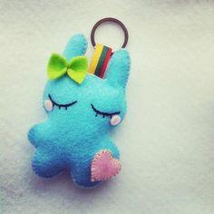Dreaming Baby blue rabbit  felt plush toy cute by Mielamiela, $7.50