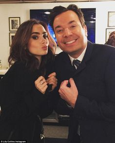 Strike a pose: While on the show, Lily talked about her film Rules Don't Apply as well as her upcoming book, Unfiltered: No Shame, No Regrets, Just Me; seen with Jimmy