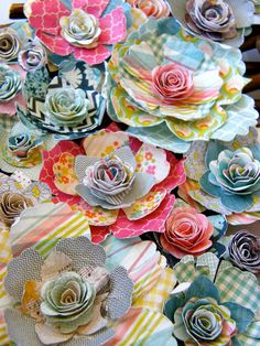 paper flowers, love the plaid and gingham flower petals!