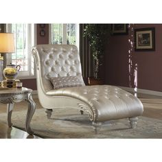 Meridian Marquee Pearl White Crystal Tufted Chaise Lounge found on Polyvore featuring polyvore, home, furniture, chairs, accent chairs, white, colored furniture, oversized chairs, white tufted chair and over sized chair
