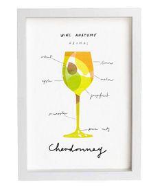 Arte per gli amanti del vino  vino anatomia stampa  di anek