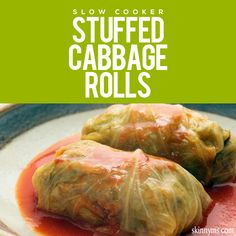 Slow Cooker Stuffed Cabbage Rolls are A-M-A-Z-I-N-G! #slowcooker #crockpot #stuffedcabbagerolls