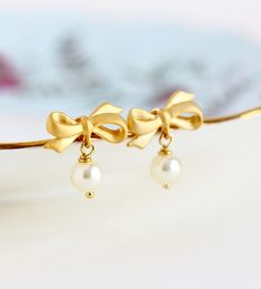 Drop Earrings Ivory Pearl Earrings Bow Jewelry by JacarandaDesigns