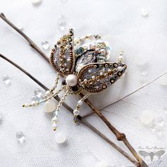 Rhinestone brooch Insect brooch Beetle by PurePearlBoutique