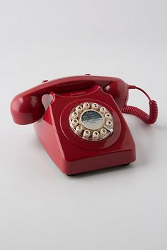 Vintage Rotary Phone. Wild & Wolf lovingly restores telephones from the 50s and 60s, replacing microphones, cartridges and cables with original parts and repainting them in a vibrant retro hue.