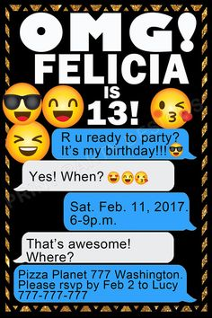 Partido de Emoji Emoji invitación Emoji cumpleaños First Birthday Decorations, 10th Birthday Parties, Girl Birthday, Emoji Invitations, Birthday Invitations, Emoji Cake, Bash, Party Themes, Birthdays