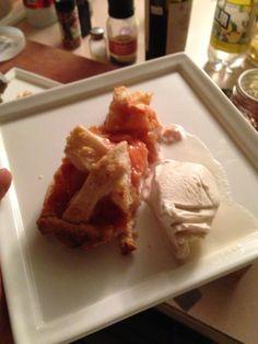 Peach pie with whiskey bourbon ice cream.