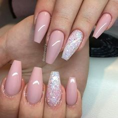 Nude pink meets sparkling glitter! Nails by @solinsnaglar. Share your own nails in our User Gallery on our website (link in bio) and you may end up featured here too!