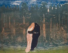 """Edvard Munch """"Towards the Forest II"""", Colour woodcut, printed from two blocks, one sawn into four sections, on wove paper. Edvard Munch, Städel Museum, Bizarre, Poster Prints, Art Prints, Statues, Expositions, Oil Painting Reproductions, Portraits"""