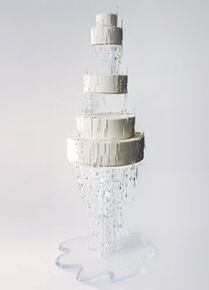 If Queen Elsa were to get married, we're fairly certain this would be her cake. The crystal accents and clear cake pedestal are sure to make every guest's jaw drop. 17 unique wedding cake ideas.