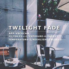 Twilight Fade VscoCam Filter: F2+12/Exposure-4/Fade+7/Temperature-2/Highlights Blue+3 #vsco#vscocam#vscofilter
