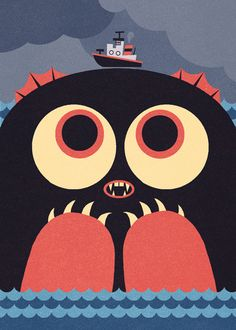 Umibuzo (2010) by Ben Newman82, via Flickr<< that monster seems really excited to have that boat on his head. l