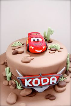 Lighting McQueen themed cake by Bake-a-boo Cakes NZ, via Flickr