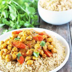 Chickpea Curry with Quinoa Recipe Main Dishes with coconut oil, onions, garlic, fresh ginger, tumeric, coriander, cumin, cardamom, tomatoes, carrots, chickpeas, water, coconut milk, sea salt, cilantro leaves, quinoa, water