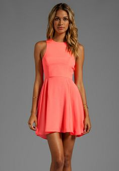 NAVEN Circle Skirt Dress in Neon Coral