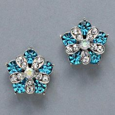 "$7.99 Sale #cybermonday #stockingstuffer Amazon.com: Designer Inspired Earrings, 3/4"" W, 3/4"" L , Flower with Clear & Aqua Blue Rhinestones: Jewelry"