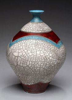 Michael Lee Howland Pottery - new work - Raku fired crackle glaze-bottle Raku Pottery, Thrown Pottery, Pottery Art, Pottery Ideas, Pet Urns, Ceramic Vase, Handmade Pottery, New Work, Art Deco