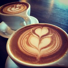 River maiden coffee. Tulip with halo heart latte art