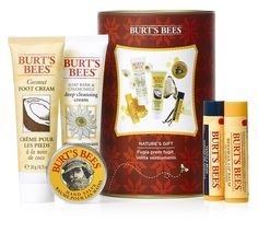 Burts Bees Natures Gift Gift pack contains a collection of moisturing, natural products in a resuable tin Includes Coconut Foot Cream, Soap Bark ampamp Chamomile Deep Cleansing Cream, Hand Salve, Vanilla Bean Lip Balm and Be http://www.MightGet.com/may-2017-1/burts-bees-natures-gift.asp