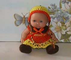 "Crocheted Doll Clothes Fits 5"" Berenguer Baby Doll Orange Yellow Brown 