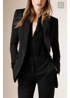 a1b1e55ffe997 Satin-Lapel Stretch Wool Jacket with black or gunmetal shirt and black  pants. Sexy but understated