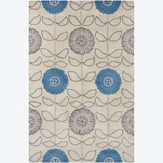 Artist's Loom Hand-tufted Transitional Floral Wool Rug (5'x7'6) (Blue), Beige, Size 5' x 7'6