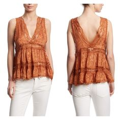 """Free People Deep V Cami Sleeveless Top.  V neck.  Lace detail.  Intimately by Free People.  Copper color..  Loose Fitted. 100% Polyester.  Shoulder to hem approximately 20"""". Free People Tops"""