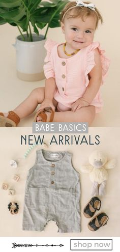 Babe Basics features an exclusive line of boutique quality baby clothing crafted with linen using non-toxic dyes. Your little one stays comfortable and cool, while you get the ease of diaper snaps and stretch material.  With classic, neutral styles and beautiful details that let your babe's personality shine, these rompers are a perfect choice for pregnancy reveal photos, monthly update baby photos, family pictures, or a milestone birthday. #babyfashion #summerbabyclothes #baby
