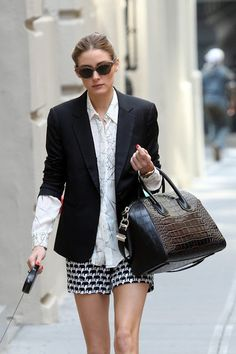 The twists: pattern mixing, the bare legs, scrunched blazer sleeves, sunglasses pattern, red nails, oversize bag
