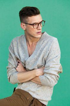 specs/speckled cardigan