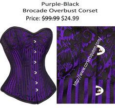Purple Black Corset overbust Corset Shop, Wedding Corset, Plus Size Corset, Steampunk Corset, Waist Training Corset, Overbust Corset, Black Corset, Purple And Black, Collection