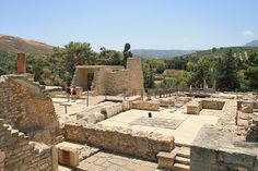 Knossos palace - View to the south. The hill in the background is Gypsades. Between it and Knossos is the Vlychia. The South Entrance is on the left.