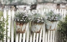 ♕ rustic flower buckets hanging on a fence