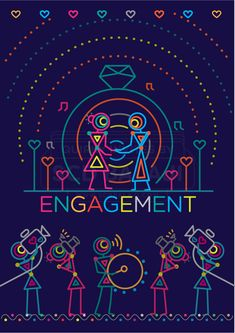 Engagement Invite / Ring Ceremony Invitation Design. Indian Wedding Invitation Suite Illustrated and Designed by www.scdbalaji.com, Indian Illustrator. Invite Illustration Style inspired by Ancient Indian Iconography found in Warli, Folk Art of India. Explore the complete collection at www.scdbalaji.com