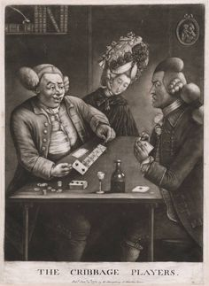 Caricature of 18th Century Cribbage Players with woman in background